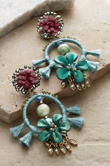 Leather Floral Drop Earrings