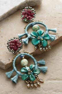 Leather Floral Drop Earrings