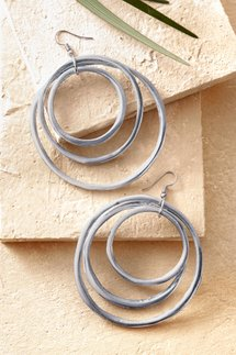 Triple Sphere Hoop Earrings