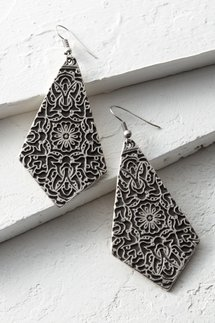 Engraved Shield Earrings