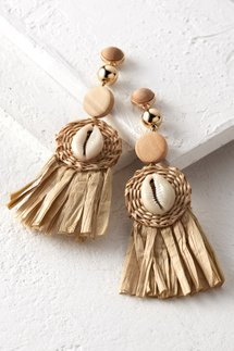 Straw Puka Shell Earrings