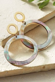 Mother-of-Pearl Shell Open Circle Earrings
