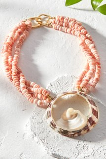 Layered Pink Shell Necklace