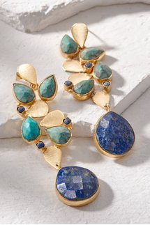 Abstract Leaf & Stone Earring
