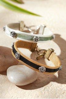 Velvet and Flower Bracelet