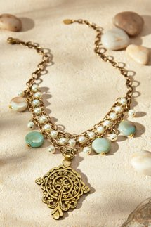 Pearl & Medallion Chain Necklace