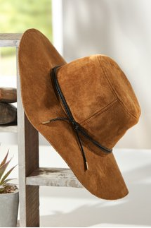 Faux Suede Wide Brim Hat