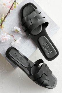 Flat Leather Gel Slide