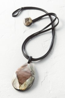 Leather Mother-of-Pearl Necklace
