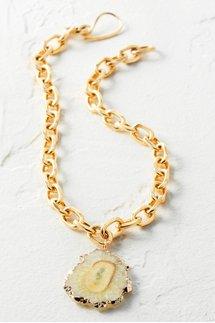 Agate Pendant Chain Necklace