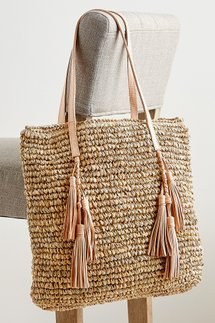 Leather Fringe Straw Tote