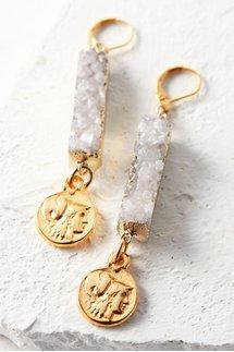 Druzy Coin Earrings