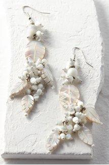 Mother of Pearl Leaf Drop Earrings
