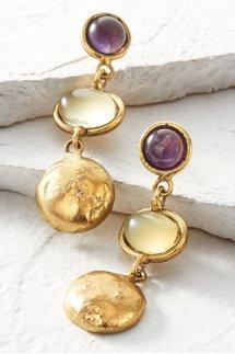 Amethyst and Onyx Earrings