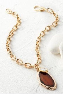 Agate Pearl Charm Necklace