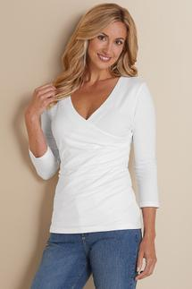 Shapely Surplice 3/4 Sleeve Top