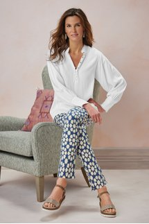 Superla Stretch Pull-on Mosaic Skinny Ankle Pants
