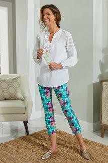 Superla Stretch Pull-On Delightful Dots Straight Leg Crop Pants
