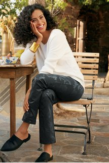 Perfect Ponte Floral Pull-On Straight Leg Pants