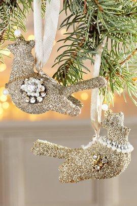 Vintage Sparkle Dove Ornament