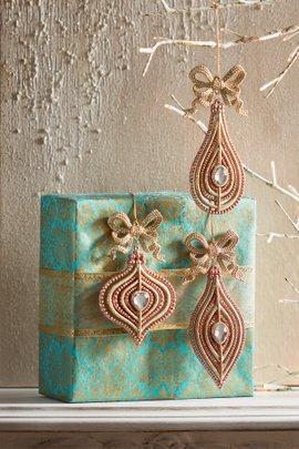 Rose Glitter Bow Ornament Set