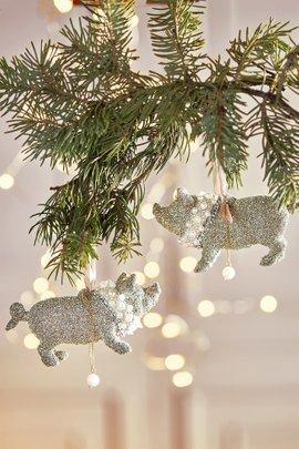 Vintage Sparkle Pig Ornament, Set of 2