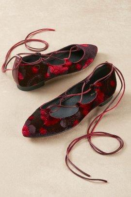 Floral Velvet Gillie Flats
