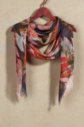 Autumn Floral Watercolor Scarf