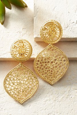 Satin Gold Filigree Clip Earrings