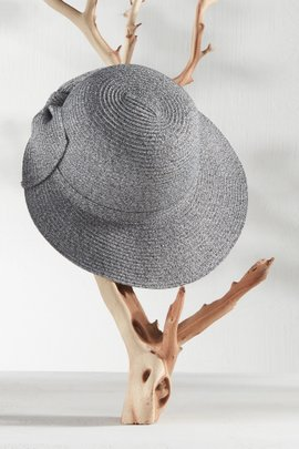 Packable Bow Marled Straw Bucket Hat