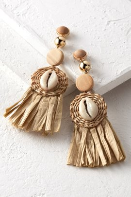 Straw Puka Shell Earrings