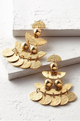Textured Coin Statement Earrings