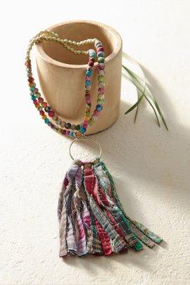 Kantha & Gold Fringe Necklace