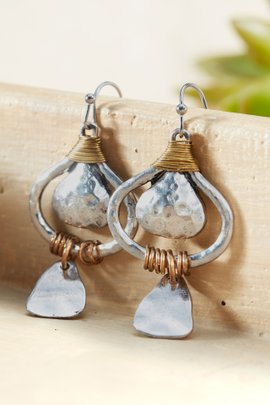 Hammered Tribal Wrap Dangle Earrings