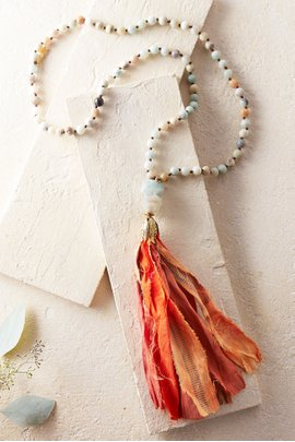 Amazonite Sari Tassel Necklace