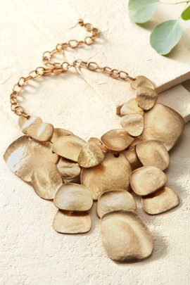 Satin Hammered Petal Necklace