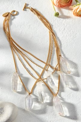 Crystal Drops Chain Necklace