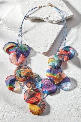 Multi-Color Fabric Petal Necklace