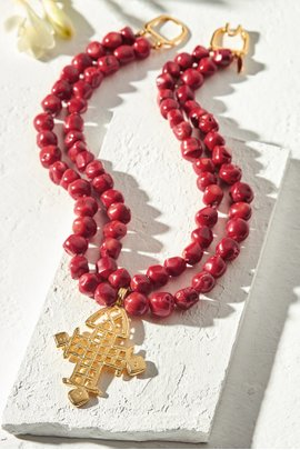 Coral Cross Necklace