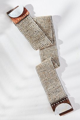 White Shell Mosaic Stretch Belt