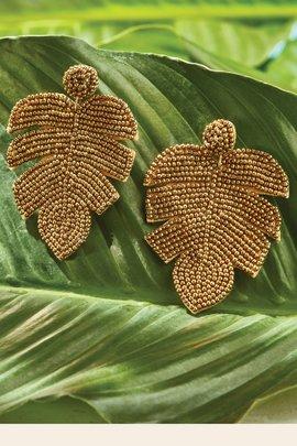 Leaf Seed Beaded Earrings