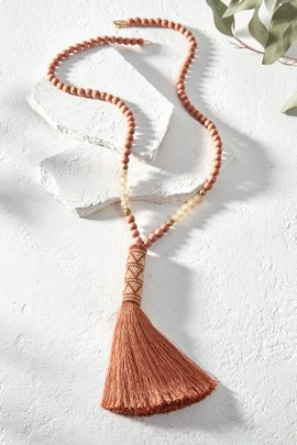 Beaded Top Tassel Necklace