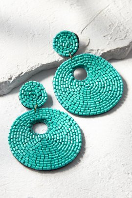 Seed Bead Circled Earrings