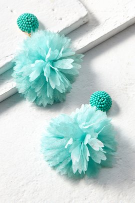 Chiffon Pom Pom Earrings