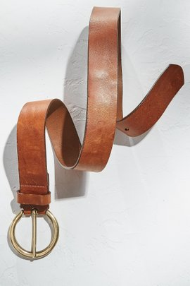 Circle Buckle Leather Belt