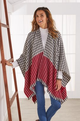 Mixed Plaid Houndstooth Wrap
