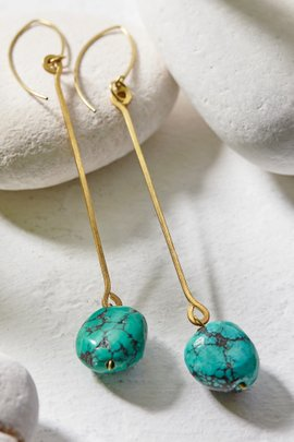 Brass Stone Drop Earrings