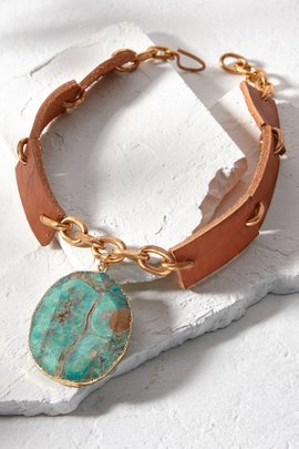 Agate Leather Necklace
