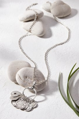 Silver Coin Charm Necklace