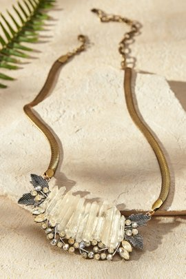 Crystals & Leaves Necklace